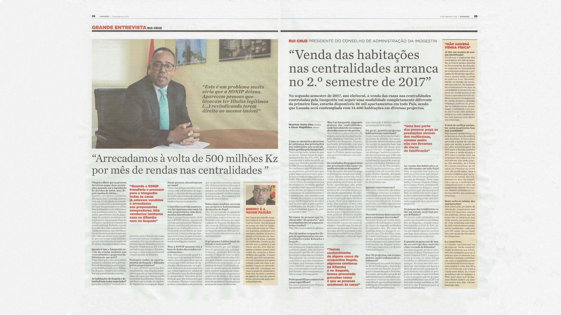 Rui Cruz, PCA da Imogestin falar ao Jornal Expansão sobre a questão das centralidades