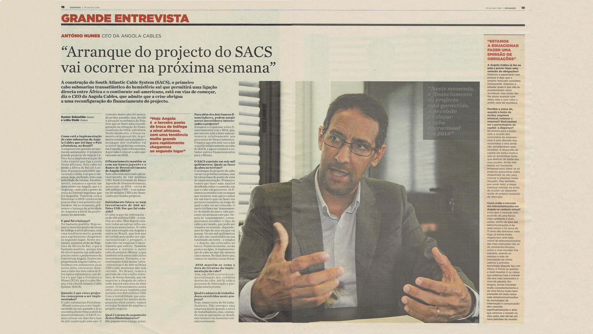 Clip de entrevista como CEO da Angola Cables, Antonio Nunes