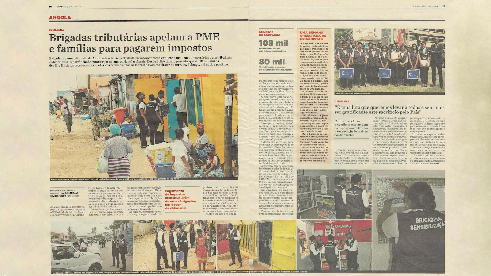 Clip de notícia sobre o engajamento dos comerciantes na campanha